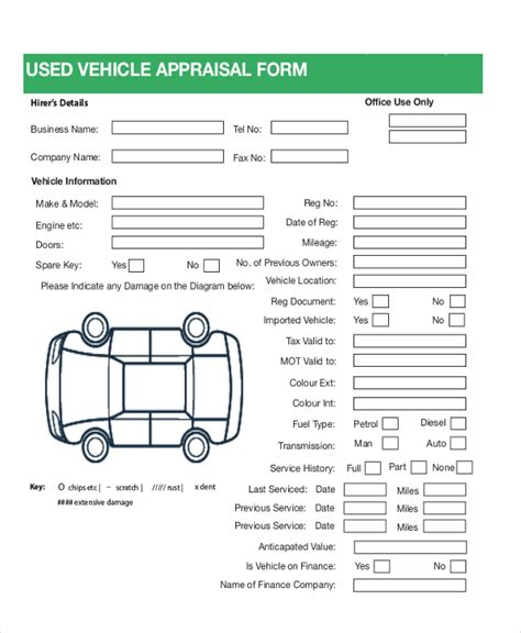 7 Sle Car Appraisal Forms Sle Exle Format Vehicle Appraisal Form Templates