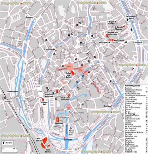 printable street map bruges bruges map central bruges brugge hotels and