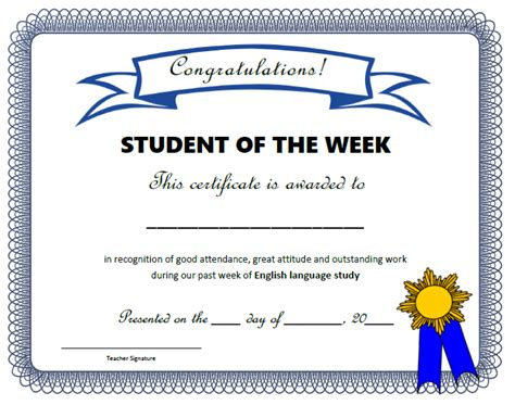 student of the week template student of the week certificate editable professional