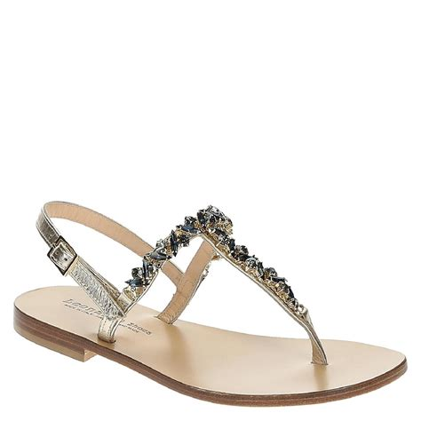 Sandals Handmade - handmade flat jeweled t sandals in platinum leather