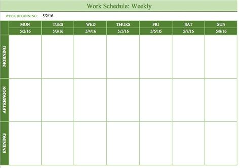Work Schedule Template   clickuk.org