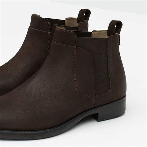 zara mens chelsea boots zara leather chelsea boots in brown for lyst