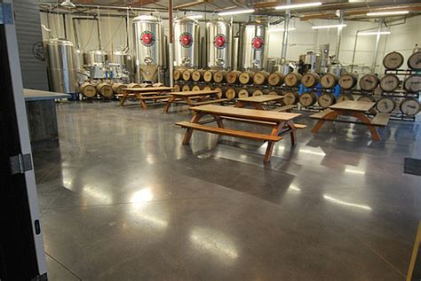 10 floor brewery polished sted and stained concrete in microbrew