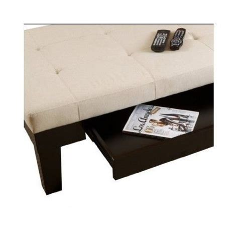 Ivory Natural Fabric Uphlostered Tufted Storage Ottoman W Fabric Storage Ottoman Coffee Table