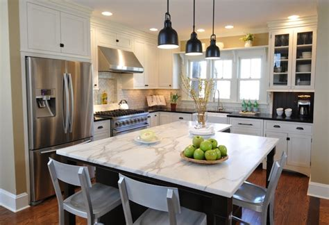 marble double island kitchen for the home pinterest calcutta marble kitchen island contemporary kitchen