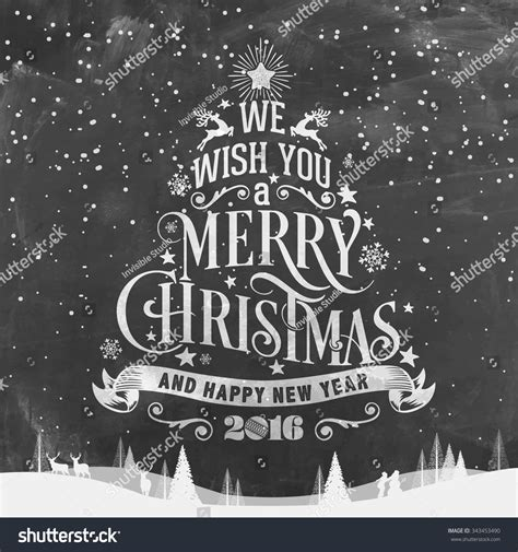 merry christmas  happy  year typographical background  chalkboard stock
