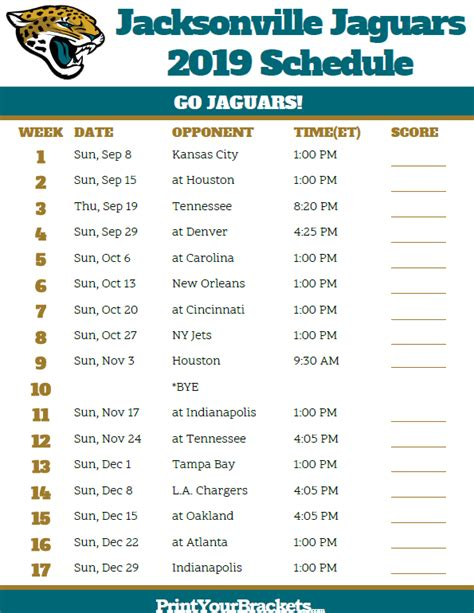 Jaguar Schedule 2020 by Printable Jacksonville Jaguars Schedule 2019 Season