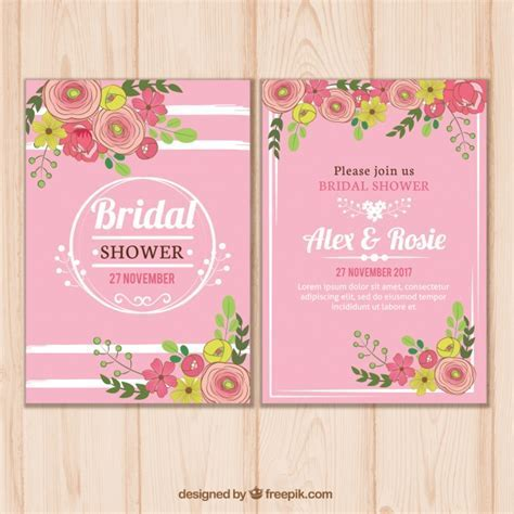Pink bridal shower invitation template with floral