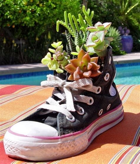 shoe planters recyle your footwear in to garden