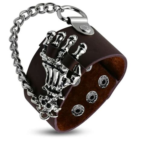 biker leather jewelry google search genuine brown leather skeleton bone hand skull chain link