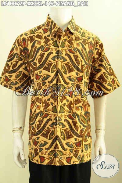 Gamis Batik Supervjumbo Jacinda pakaian batik klasik cowok lengan pendek 5l hem batik jumbo motif pisang bali spesial