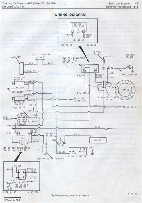 deere 140 garden tractor wiring diagram wiring