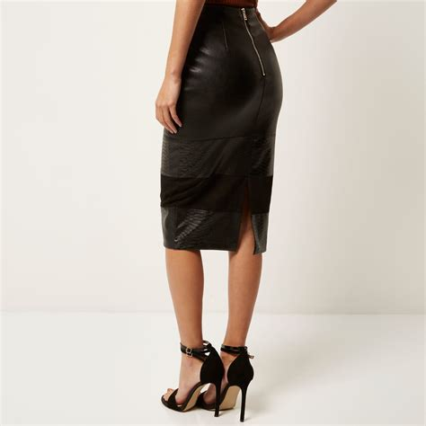 river island black blocked leather look pencil skirt in