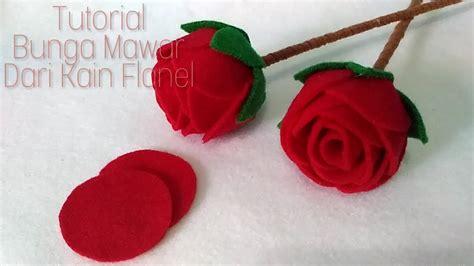 mudah membuat bunga mawar  kain flanel