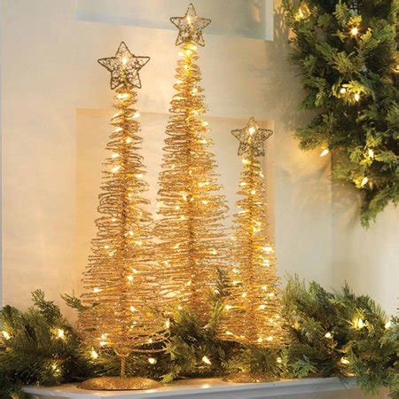 lighted gold spiral trees walmart