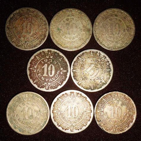 Calendario De 1936 Monedas 10 Centavo Calendario Azteca Lote Serie De 1936