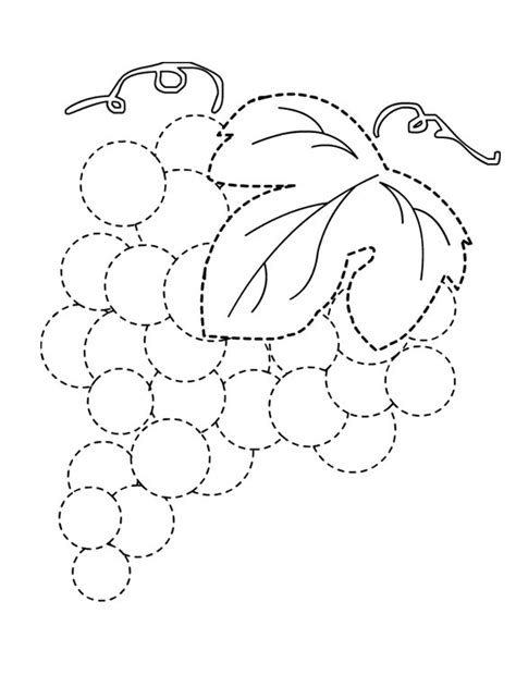 preschool coloring pages grapes grapes trace line worksheet for kids 1 july august