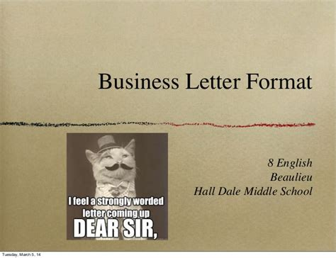 Business Letter Exle Middle School Business Letter Format
