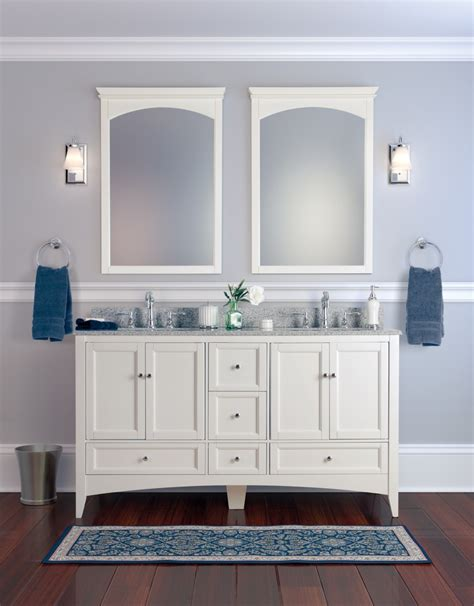 bahtroom delicate antique double sink bathroom vanities and cabinets with light modern designs