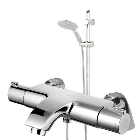 deckwall mounted thermostatic chrome bathroom bath shower
