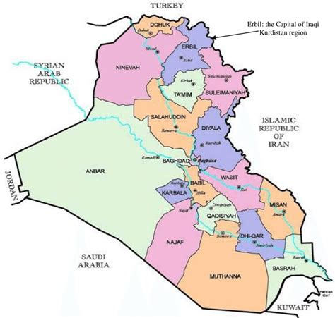 map of iraq and surrounding area sketch map iraq of the area study erbil city