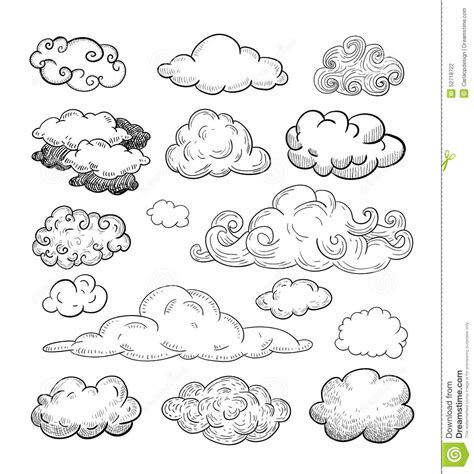 doodle sketch vector free doodle collection of vector clouds stock