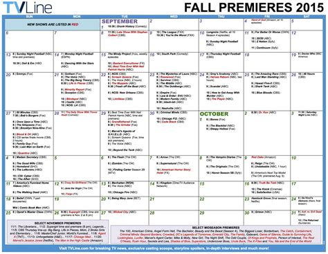 new fall tv shows the complete lineup with previews fall tv premiere dates 2015 schedule of season series