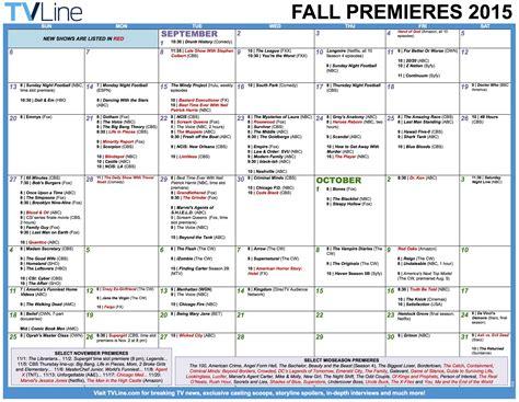 Fall Calendar Fall Tv Premiere Dates 2015 Schedule Of Season Series