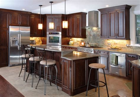 gray countertops with brown cabinets l shaped brown wooden cherry kitchen cabinet and kitchen