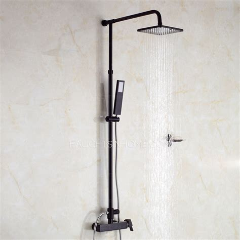 Shower Faucet System by Unique Black Painting Outside Shower Faucets System