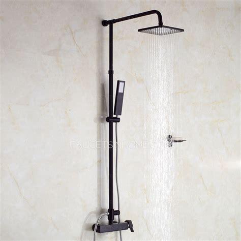Unique black painting outside rain shower faucets system