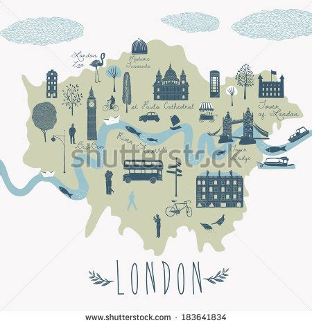 river thames attractions map map london attractions stock vector 183641834 shutterstock