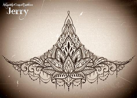 underboob tattoo design sternum underboob design idea mandala mendi