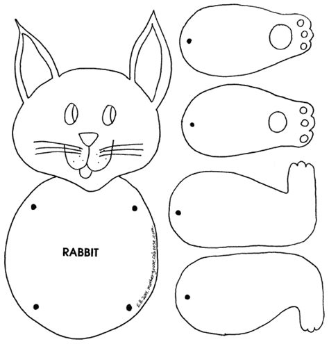 easter bunny paper bag puppet template animal puppets