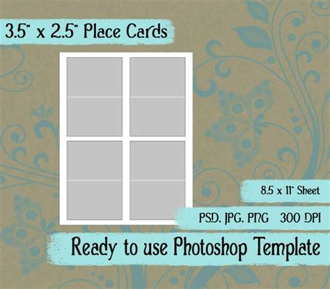 Place Cards Template Photoshop by Scrapbook Digital Collage Photoshop Template 3 5 Quot X 2 5