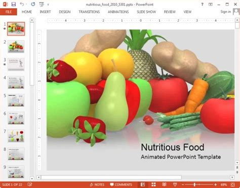 Animated Nutrition Powerpoint Templates Healthy Food Powerpoint Template