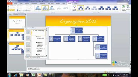 How To Create An Org Chart In Powerpoint 2010 Youtube Org Chart In Powerpoint 2010