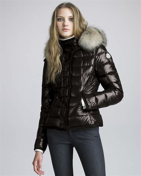 puffer jacket moncler coyotetrim lacquered puffer coat in black lyst