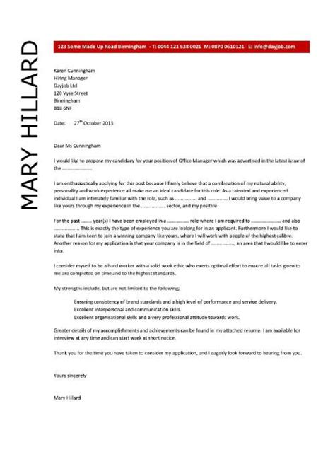 Cover Letter For Cv Manager Office Manager Cover Letter Exle