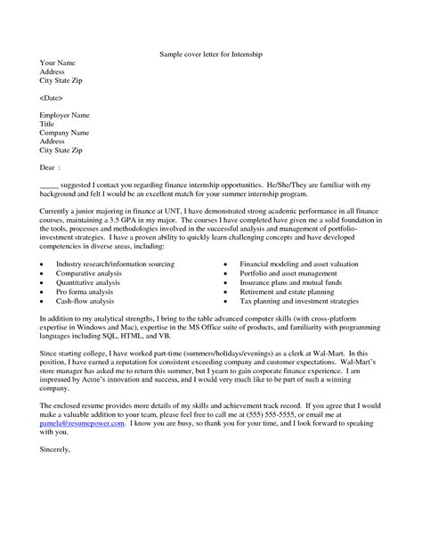 Cover Letter For Science by Internship Cover Letter Sle And Writing Tips Recentresumes