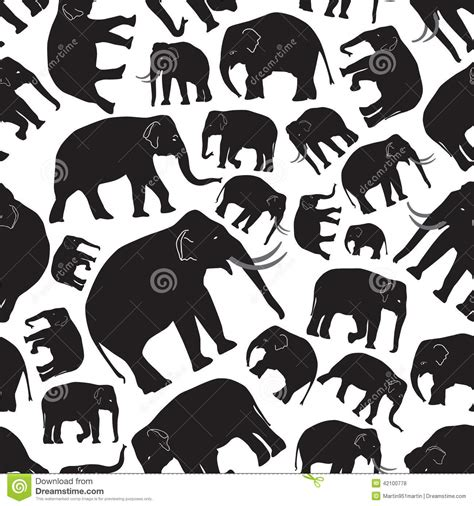 black and white elephant pattern seamless pattern with elephants vector illustration