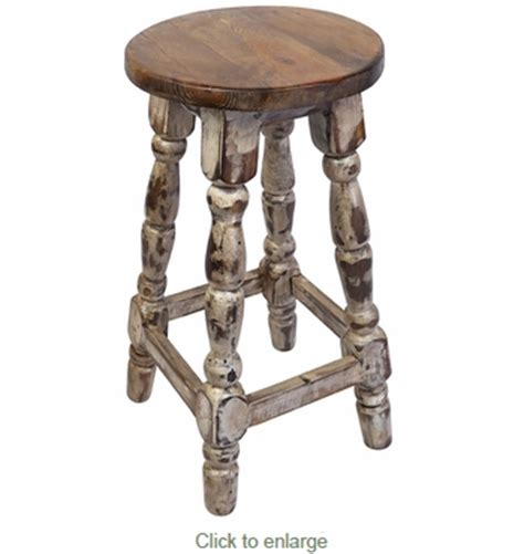 Mexican Painted Bar Stools by Turned Leg Mexican Painted Wood Bar Stool White