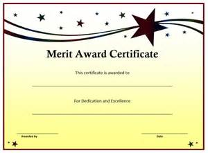 Merit Award Certificate Template merit award certificate template word templates