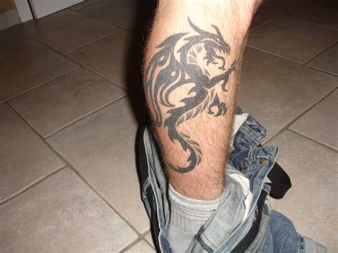tattoo on leg black ink tribal on right leg calf