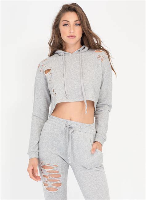 Crop Hoodie Jumper Gray Berkualitas In A Slash Distressed Top And Shorts Set Rust Olive Mauve