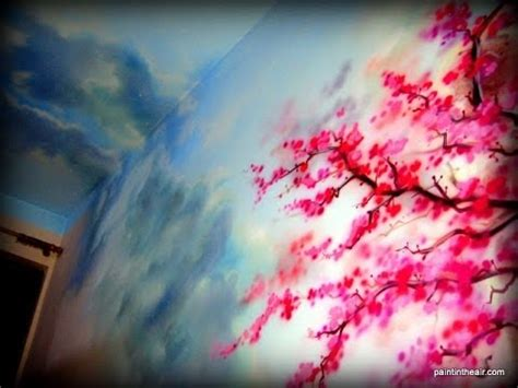 Cherry Blossom Wall Mural cloudy skies at cherry blossom airbrush mural speed