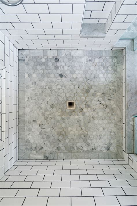 Beautiful hexagon tile in bathroom transitional with subway tile shower next to shower floor
