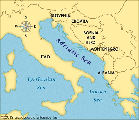 sea map of europe adriatic sea map