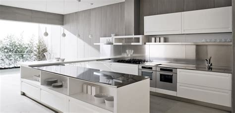 contemporary white kitchen design white island olpos design