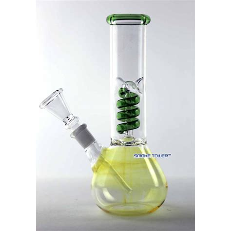 Set Mimi Lanscape Pink Gh 8 quot fumed glass mini bong with green coil perc eco bongs